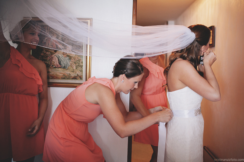 Damas de honor con la novia. Bridesmaid with bride.